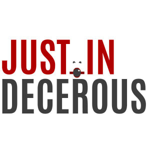 Justin Decorous logo in black and red lettering on a white background
