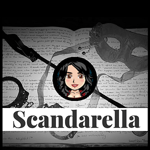 Scandarella Logo on a dark background of a book with a flogger and a pair of handcuffs
